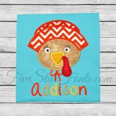 Girl Pilgrim Turkey Applique