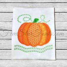 Pumpkin Swirly Vines Applique