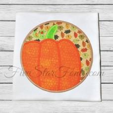 Pumpkin Circle Patch Applique
