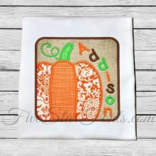 Pumpkin Square Patch Applique