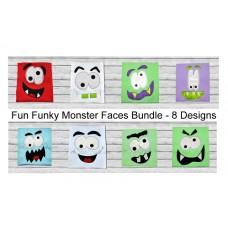 Fun Funky Monster Faces 8 Design Bundle