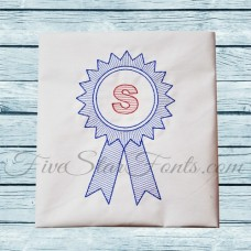 Blue Ribbon Monogram Sketch + Bonus Vintage Designs