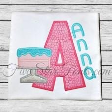 Birthday Cake Applique Font