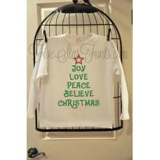 Christmas Tree Word Art Embroidery Design