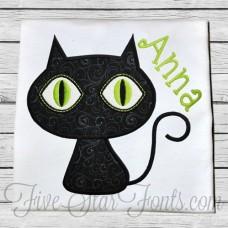 Cute Black Cat Applique
