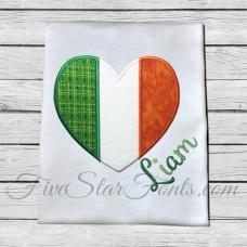 Irish Heart Flag Applique