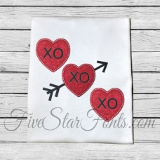 XO XO Hearts Valentine Applique