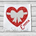 Heart with Bow Valentine Applique
