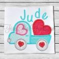 Valentine Truck 2 Heart Applique