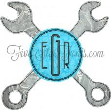 Crossed Wrenches Quick Bean Stitch Monogram Applique Design