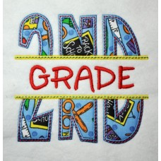 Split 2nd Second Grade Applique Back to School