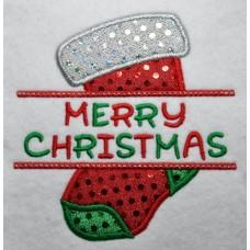 Split Christmas Stocking Applique