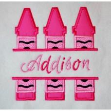 Split Trio of Crayons Applique