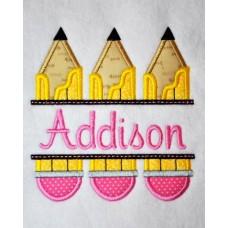 Split Trio of Pencils Applique
