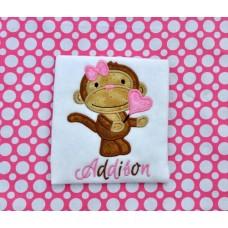 Valentine Monkey Applique Girl